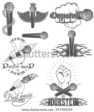 Vector set of logos for dubstep music style. Logo for t-shirts, music posters, music symbol.