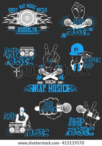 Vector set of logos for rap music style. Logo for t-shirts, music posters, music symbol. - stock vector