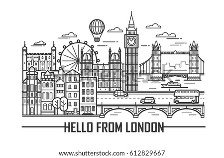Vector set of London city and britain landmarks