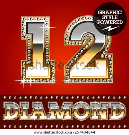 Vector set of luxury font in gold color with diamond border. Numbers 1 2  - stock vector