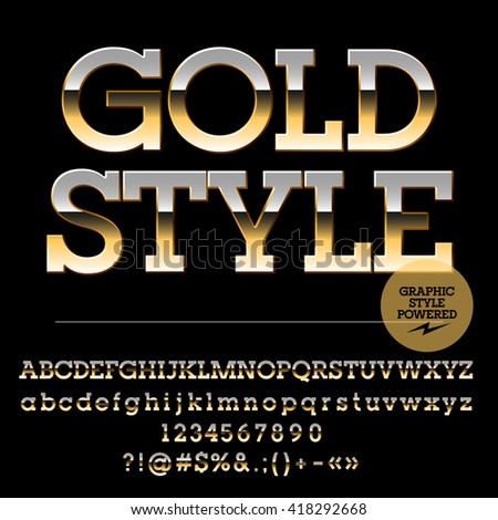 Vector set of luxury golden alphabet letters, numbers and punctuation symbols. Slab style - stock vector