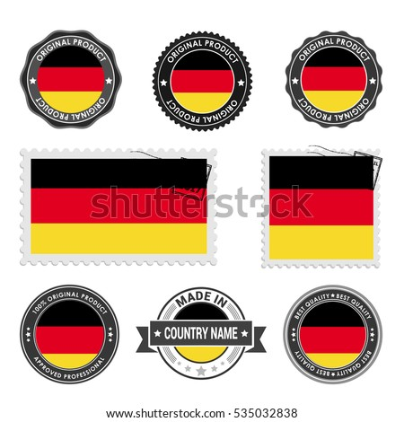 Vector set of made in the Germany labels. Approved Product, Original Product Stamps label design. country flag air mail stamp, vector illustration