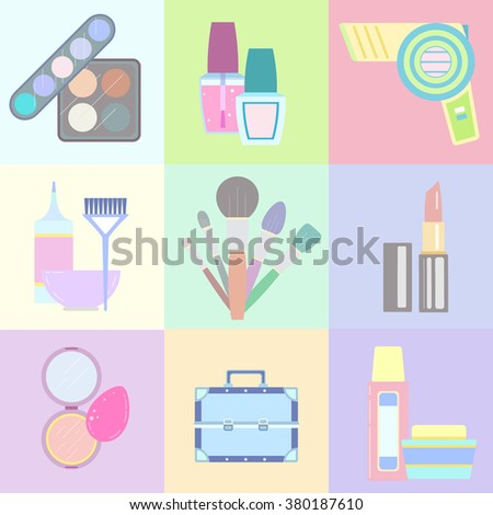 Vector set of makeup items in trendy flat style. Collection with palettes, nail polish, hair dryer, hair coloring tools, brushes, sponge, powder, case, bottles. Illustration in soft pastel colors. - stock vector