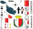 Vector set of Malta country shape with flags, buttons and icons isolated on white background - stock photo