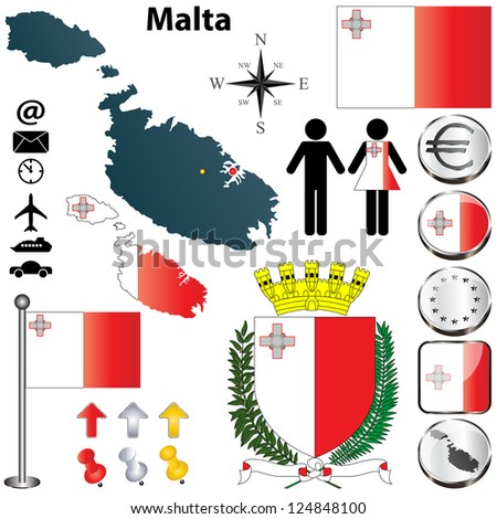 Vector set of Malta country shape with flags, buttons and icons isolated on white background - stock vector