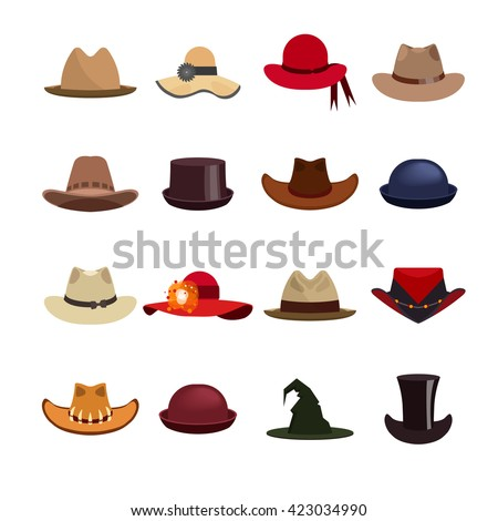 Vector set of man and woman hats. Illustration with different types of hats, cowboy hat, magic hat. - stock vector