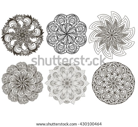 Vector set of mandala isolated on white background. The circular floral pattern
