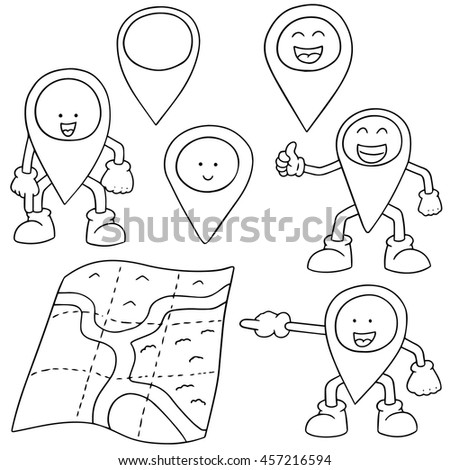 vector set of map and map marker