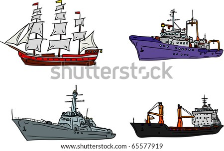 vector - set of marine ship isolated on background - stock vector