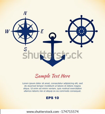 Vector set of maritime symbols. Anchor, steering wheel, steering control, wind rose, mariner's compass - stock vector