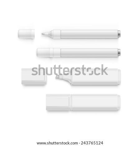 Vector Set of Markers, Highlighters, Felt Tip Pens - stock vector