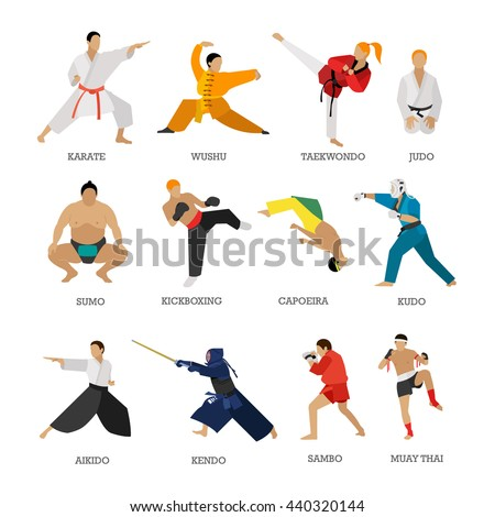 Vector set of martial arts people silhouette isolated on white background. Sport positions. Design elements and icons. Martial arts fighters. - stock vector