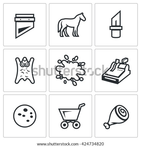 Vector Set of Meat Processing Plant Icons. Guillotine, Horse, Knife, Skin, Blood, Cash, Sausage, Food Truck, Leg. Slaughtering, tanning hides, bleeding, sales, product manufacturing - stock vector