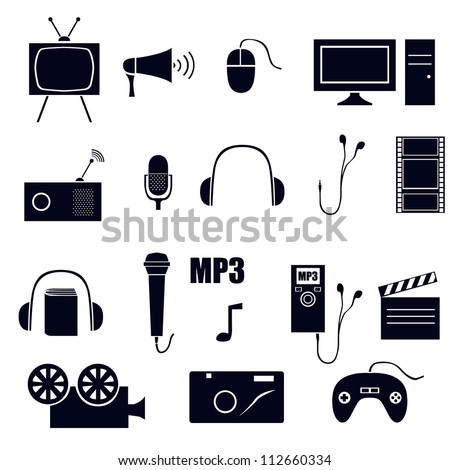 vector set of 19 media icons