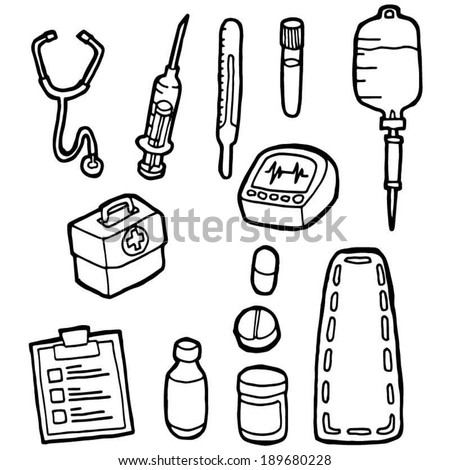 Doctor Equipment Drawing Set of Medical Equipment