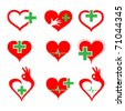 vector set of medical icons with heart and cross - stock photo