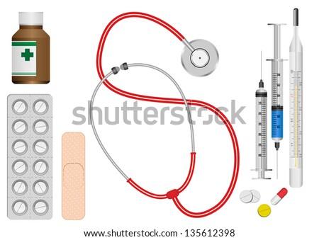 Vector set of medicine - stock vector