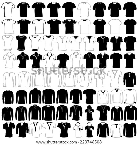 Vector set of men and women wear and fashion, collection of hand drawing t shirt, jersey, wool sweater, polo shirt, dress shirt, hooded sweatshirt, pullover and undershirt.  - stock vector