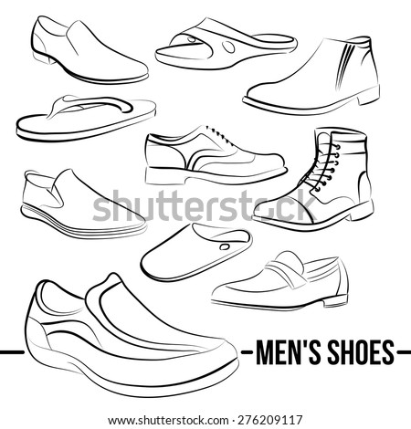 Vector set of men's shoes painted lines in minimalist style