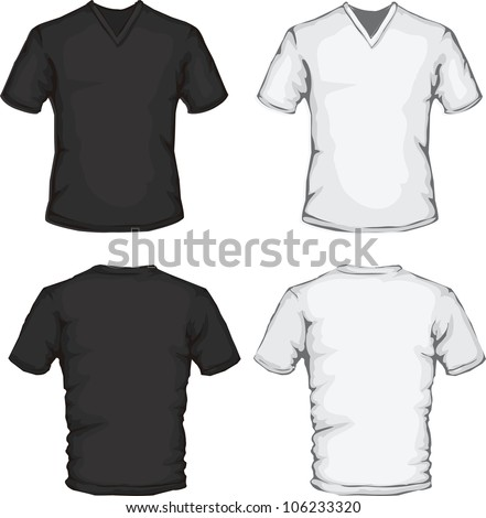 vector set of men's v neck shirt in black and white, front and back design, check out my portfolio for different t-shirt templates