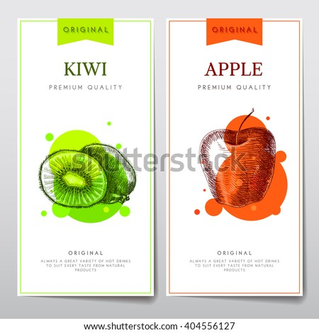 Vector set of menus on the theme of fruits. Flyers with a picture of kiwi fruit and apples for cafes or restaurants.