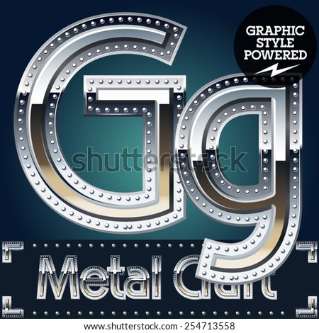 Vector set of metal aluminum alphabet with riveted border. Letter G - stock vector
