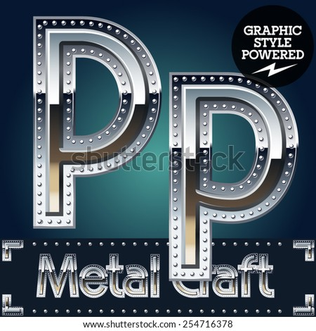 Vector set of metal aluminum alphabet with riveted border. Letter P - stock vector