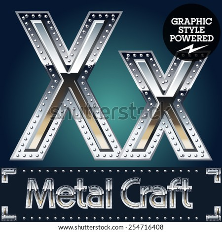 Vector set of metal aluminum alphabet with riveted border. Letter X - stock vector