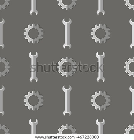 Vector Set of Metallic Wrench Grey Seamless Pattern. Industrial Tool Background