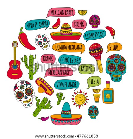 Vector set of mexican icons Hello! How are you? Food and drinks of mexican cuisine.