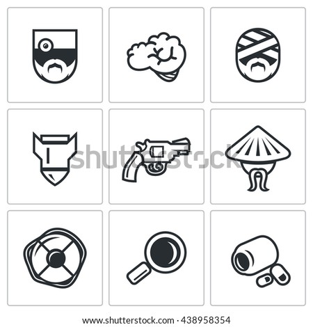 Vector Set of Military Rehabilitation Icons. Health, Mind, Contusion, War, Suicide, Vietnam, Salvation, Diagnosis, Treatment. Soldier With PTSD and Medicine.  - stock vector