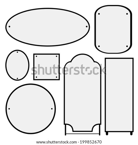 Vector set of mirrors of different shapes in a beautiful elegant black frames - stock vector