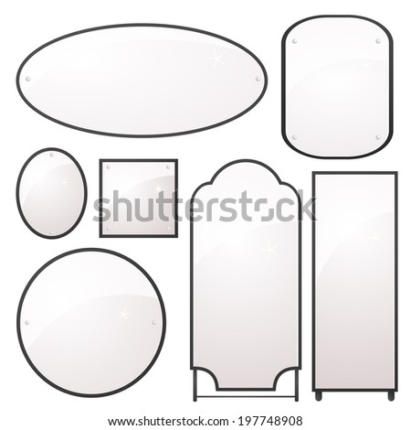 Vector set of mirrors of different shapes in a beautiful elegant metal frames - stock vector