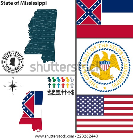 Vector set of Mississippi state with flag and icons on white background - stock vector