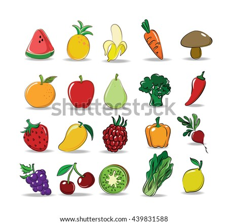 Vector set of Mix fruit and Vegetable (Watermelon, Pineapple, Banana, Grapes, Apple, Kiwi, Strawberry, Mango, Raspberry, Carrot, Broccoli, Beetroot, Bell pepper, Lemon, Chili, lettuce)   - stock vector