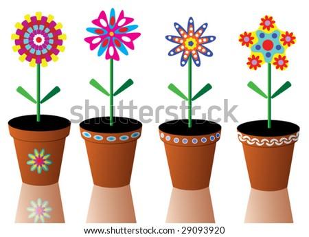 vector set of mixed flowers in pots - stock vector