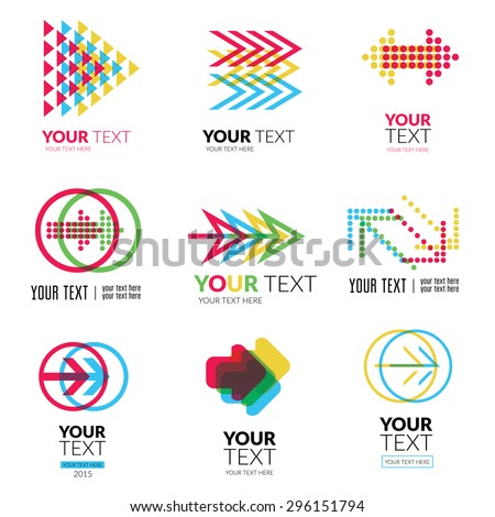 Vector set of modern abstract forms logos - colorful design - stock vector