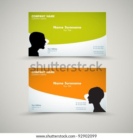 Vector Set of modern business card templates for man and woman - stock vector
