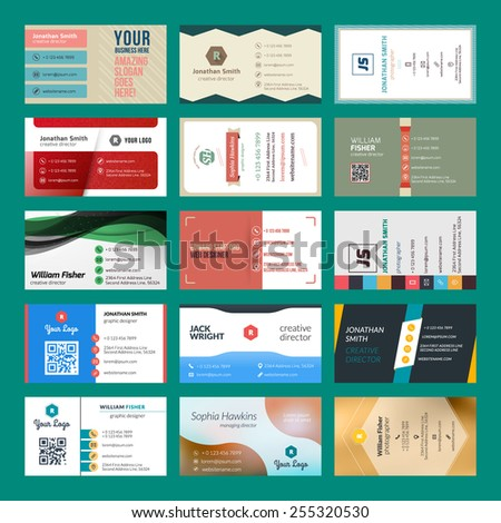 Vector set of modern creative business cards - stock vector