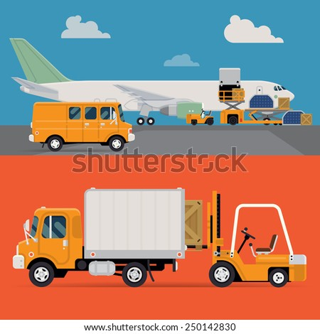 Vector set of modern creative detailed visuals on delivery and shipping logistics service in business and industry with freight cargo airplane loading, forklift loader, local shipment truck and van - stock vector