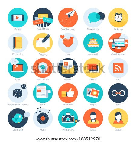 Vector set of modern flat and colorful social media icons. Design elements for web and mobile applications. - stock vector
