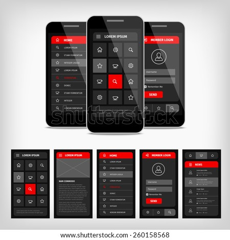 Vector set of modern flat design. Template mobile user interface. EPS10 illustration. Mobile app ui kit. - stock vector