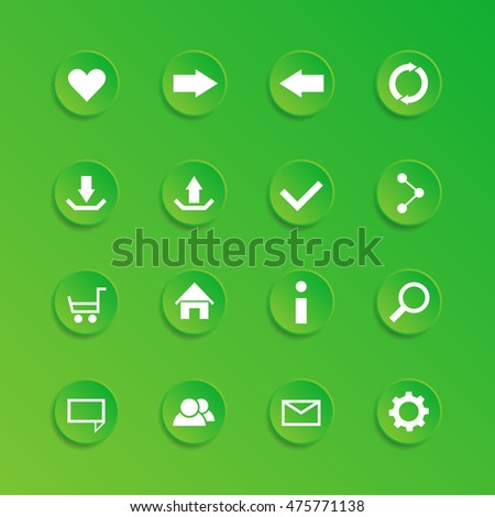 Vector set of modern green icons for website or for app