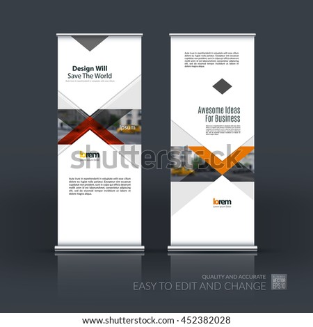 Vector set of modern roll up banner stand design with red arrows, triangles with overlap effect for business with construction, building and modern concept. Corporate vector vertical flyer. 