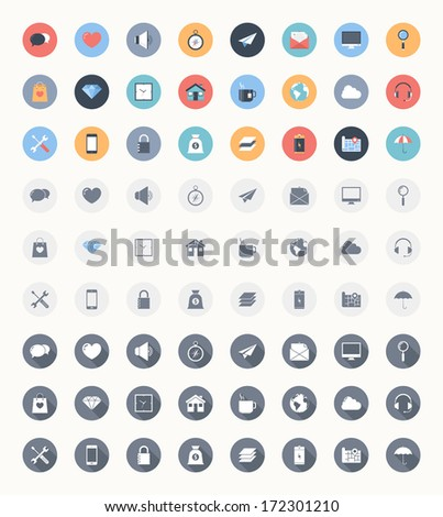 Vector set of modern trendy and flat web icons in three different styles - colorful, outlined and outlined with long shadow. - stock vector