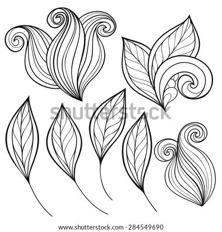 Vector Set of Monochrome Contour Leaves, Floral Design Elements - stock vector
