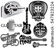 vector set of monochrome templates for logos on the theme of music and guitar