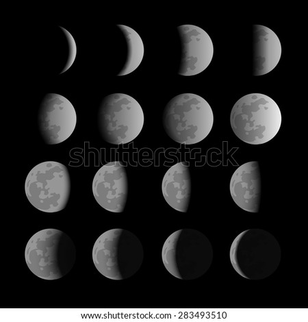 Vector set of moon phases - stock vector
