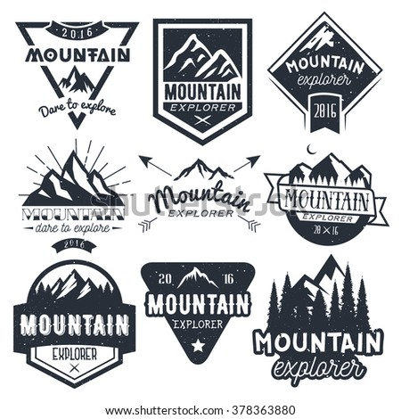 Vector set of mountain labels in vintage style. Design elements, icons,  logo, emblems and badges isolated on white background. Outdoor adventure concept illustration. - stock vector