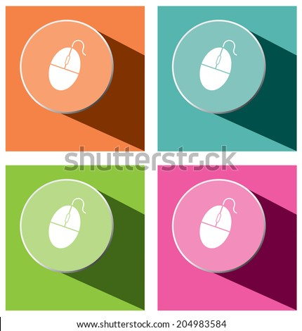 Vector - set of mouse icons with long shadow  - stock vector